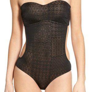 RVCA Geo Jacquard Swim Suit Sheer Cut Out